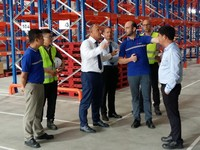 FM Logistic CEO Jean-Christophe Machet talks with Hamza Harti, country general manager, Vietnam
